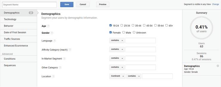 تعیین مشخصات دموگرافیک در گوگل آنالیتیکس